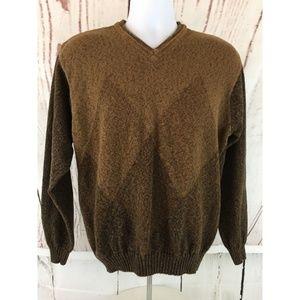 Van Heusen Sweater Sz M Knit Brown Stretch Casual